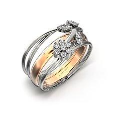18K玫瑰金钻石女戒