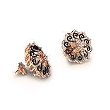 18K玫瑰金钻石耳钉