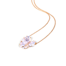 Papillon系列-G18K玫瑰金milky紫晶項鏈
