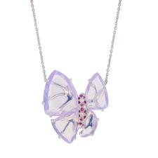 Papillon系列-G18K白金milky紫晶項鏈