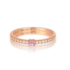 G18K玫瑰金粉色藍寶石女戒